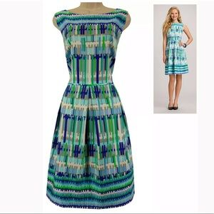 18W 2X▪️LINE PRINT FIT & FLARE DRESS Plus Size